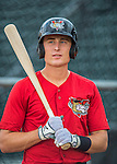 31 August 2016: Tri-City ValleyCat infielder Tyler Wolfe awaits his turn in the batting cage prior to a game against the Vermont Lake Monsters at Centennial Field in Burlington, Vermont. The Lake Monsters defeated the ValleyCats 5-3 in NY Penn League action. Mandatory Credit: Ed Wolfstein Photo *** RAW (NEF) Image File Available ***