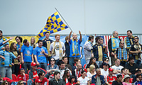 The Philadelphia Union fans in attendance show their support during an MLS game between the Philadelphia Union and the Toronto FC at BMO Field in Toronto on May 28, 2011..The Philadelphia Union won 6-2..