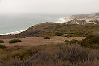 After hiking up and out of the valley the parking lot at Crystal Cove State Park is in, you're rewarded with this view of the bluffs fronting the ocean at Crystal Cove State Park.  This picture is looking north towrads the new RV campground (on the right), PCH (Highway 1), and the Reef Point area of Crystal Cove State Park.
