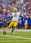 14 December 2014: Green Bay Packers kicker Mason Crosby warms up prior to facing the Buffalo Bills at Ralph Wilson Stadium in Orchard Park, NY. The Bills defeated the Packers 21-13, snapping the Packers' 5-game winning streak and keeping the Bills' 2014 playoff hopes alive. Mandatory Credit: Ed Wolfstein Photo *** RAW (NEF) Image File Available ***