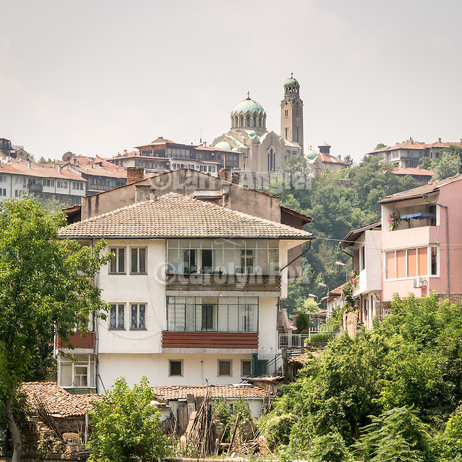 Church and housing above the Yantra River, Veliko Tarnovo, Bulgaria