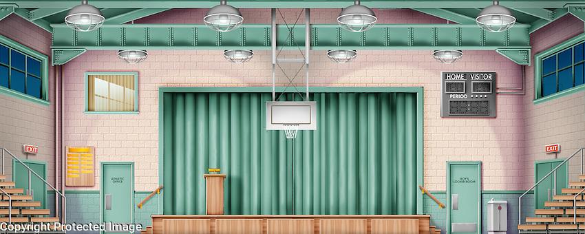 Rydell High School Gym…scene of the senior prom. For Kenmark Scenic Backdrops, Inc.