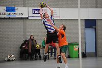 KORFBAL: HEERENVEEN: Blauw-Withal, 23-11-2013, Overgangsklasse A, KV Heerenveen - SDO/VerzuimVitaal, Eindstand 15-26, Sjors Keij (Heerenveen), ©foto Martin de Jong