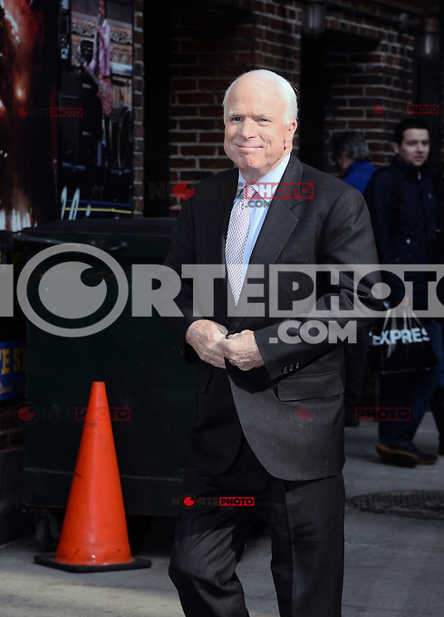MARCH 10 ,2014- NEW YORK,NYC-Unites States  Senator John McCain arrives for The Late Show With David Letterman at the Ed Sullivan Theater in New York City on March 10, 2014  ©HP/Starlitepics /NORTEphoto.com