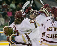 North Andover, Massachusetts - March 6, 2016: NCAA Division I, Women's Hockey East final. Boston College (white/maroon) defeated Boston University (red), 5-0, at Lawler Arena at Merrimack College. Boston College has a perfect Hockey East season - regular season, Bean Pot winner, and Women's Hockey East winner. Goal celebration.