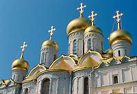 Golden domes and crosses on the roof of the Kremlin, Moscow, Russia RESERVED USE - NOT FOR DOWNLOAD -  FOR USE CONTACT TIM GRAHAM