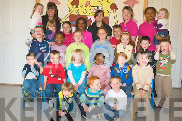 LULLABY'S CRECHE: The staff and kids of Lullaby's Creche enjoying a great time on Friday pictured Rachel Banks, Clare Gurney (Owner), Deirdre and Sarah Quigley, Shayo Babatunde, Bronagh Gurney, James Quigley, Regina Fletton, Ola Babatunde, Sophie Banks, Carl Dziedziuch, Alimat Babatunde, Amy Murphy, Chloe Murphy, Emily Heaslip, David Banks, Aaron Nolan, Samuel Barrero, Darragh Gurney, Mairead Guerin, Abidat Babatunde, Sean Heaslip, Ethon Asha McCord, Rohan Carter O'Flynn, Cody O'Brien and Shane Burke.
