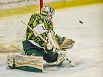 24 November 2013: University of Vermont Catamount Goaltender Mike Santaguida, a Freshman from Mississauga, Ontario, makes a third period save against the University of Massachusetts Minutemen towards recording his first NCAA career shutout at Gutterson Fieldhouse in Burlington, Vermont. Santaguida made 39 saves as the Cats shut out the Minutemen 2-0 to sweep the 2-game home-and-away weekend Hockey East Series. Mandatory Credit: Ed Wolfstein Photo *** RAW (NEF) Image File Available ***