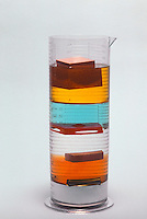 DENSITY COLUMN OF HOUSEHOLD SOLUTIONS<br /> Demonstration of Immiscibility<br /> Demonstrates immiscibility and phase differences in liquids.  From top to bottom: wood floats in corn oil, plastic floats between anti-freeze and shampoo, rubber floats between shampoo, and metal floats between maple syrup and dish detergent.