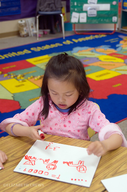 Alameda CA Kindergarten student using drawing figures to conceptualize addition problem