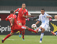 El Salvador Xavier Garcia (2) goes against Panama Nelson Barahona (10)  Team Photo.  Panama defeated El Salvador in penalty kicks 5-3 in the quaterfinals for the 2011 CONCACAF Gold Cup , at RFK Stadium, Sunday June 19, 2011.