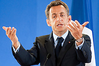 French President Nicolas Sarkozy speaks during a press conference after an EU summit at the European Council headquarters  in  Brussels, Belgium on 2009-06-19 Ireland secured Friday legal guarantees on sovereignty issues from European partners to pave the way for a second Irish referendum on the EU's reform treaty, the EU presidency confirmed.  &copy; by Wiktor Dabkowski  ..FRANCE OUT