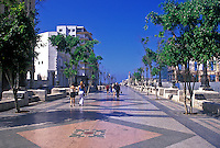 Strolling along the tree lined Paseo del Prado La Habana Vieja Havana Cuba, Republic of Cuba,