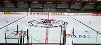 Hunt Arena floor painted for upcoming skating season September 17, 2013. <br /> Kathy M Helgeson/UWRF Communications