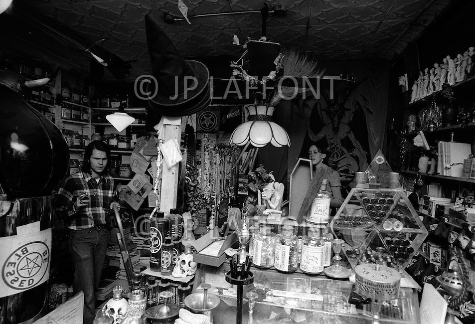 Brooklyn, New York, May 14, 1974. Witchcraft shop opened by the WICCA sect in Brooklyn.