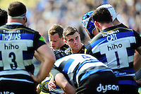 George Ford of Bath Rugby speaks to his team-mates during a break in play. Aviva Premiership match, between Bath Rugby and Sale Sharks on April 23, 2016 at the Recreation Ground in Bath, England. Photo by: Patrick Khachfe / Onside Images