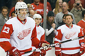 Brad Stuart (Detroit Red Wings, #23) at warm up during ice-hockey match between Los Angeles Kings and Detroit Red Wings in NHL league, February 28, 2011 at Staples Center, Los Angeles, USA. (Photo By Matic Klansek Velej / Sportida.com)