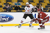 Luke Eibler (Northeastern - 20), Dan Ford (Harvard - 5) - The Northeastern University Huskies defeated the Harvard University Crimson 4-0 in their Beanpot opener on Monday, February 7, 2011, at TD Garden in Boston, Massachusetts.