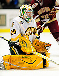 9 January 2009: University of Vermont Catamounts' goaltender Rob Madore, a Freshman from Venetia, PA, in first period action during the first game of a weekend series against the Boston College Eagles at Gutterson Fieldhouse in Burlington, Vermont. The Catamounts scored with one second remaining in regulation time to earn a 3-3 tie with the visiting Eagles. Mandatory Photo Credit: Ed Wolfstein Photo