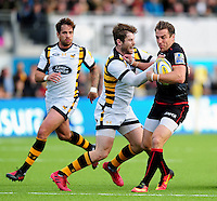 Chris Wyles of Saracens takes on the Wasps defence. Aviva Premiership match, between Saracens and Wasps on October 9, 2016 at Allianz Park in London, England. Photo by: Patrick Khachfe / JMP
