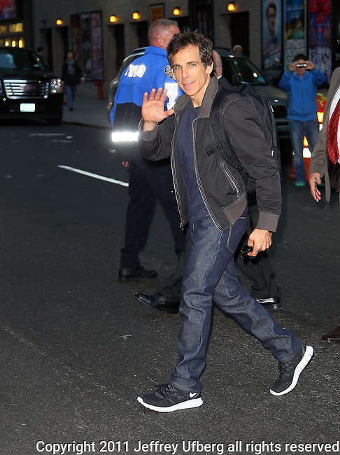 """Nov. 1, 2011 New York: Actor Ben Stiller visits """"Late Show with David Letterman"""" at the Ed Sullivan Theatre on November 1, 2011 in New York."""