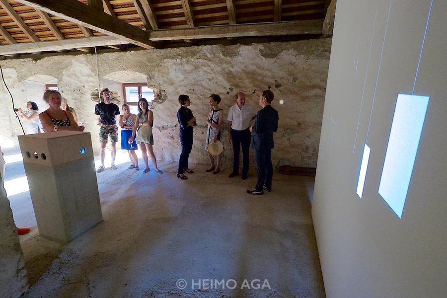 "Gars am Kamp, Lower Austria. Kunstraum Buchberg at Buchberg castle. Opening of the permanent installation ""cinéma"" (2014) by Dorit Margreiter, seen here."