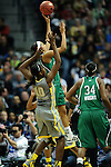 03 APR 2012: Skylar Diggins (4) of the University of Notre Dame goes up for a shot against Destiny Williams (10) of Baylor University during the Division I Women's Basketball Championship held at the Pepsi Center in Denver, CO. Stephen Nowland/NCAA Photos