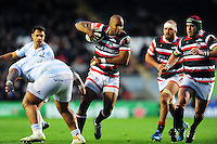 JP Pietersen of Leicester Tigers takes on the Racing 92 defence. European Rugby Champions Cup match, between Leicester Tigers and Racing 92 on October 23, 2016 at Welford Road in Leicester, England. Photo by: Patrick Khachfe / JMP