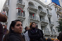 Tunis, January 14, 2011.A large crowd gathers for a peaceful demonstration in front of the Tunisian Ministry of Interior on avenue Bourguiba to urge President Ben Ali to leave power. The police will brutally put an end to the demonstration chasing groups of protesters in the surrounding streets.