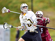 Towson, MD - May 6, 2017: Towson Tigers Ryan Drenner (22) is harrased byt UMASS Minutemen Isaac Paparo (15) during CAA Championship game between Towson and UMASS at Minnegan Field at Johnny Unitas Stadium  in Towson, MD. (Photo by Phillip Peters/Media Images International)