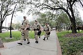 Police officers patrol the empty park where protests are authorized near the Tampa Bay Times Forum at the 2012 Republican National Convention in Tampa Bay, Florida on Saturday, August 25, 2012..Credit: Ron Sachs / CNP.(RESTRICTION: NO New York or New Jersey Newspapers or newspapers within a 75 mile radius of New York City)