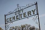 Gate to historic 19th century Gold Rush era City Cemetery, Chinese Camp, Calif.