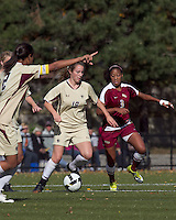 Boston College midfielder Patrice Vettori (18) dribbles as Florida State midfielder Casey Short (3) defends. Florida State University defeated Boston College, 1-0, at Newton Soccer Field, Newton, MA on October 31, 2010.