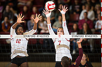 STANFORD, CA - October 15, 2016: Inky Ajanaku,Ivana Vanjak at Maples Pavilion. The Cardinal defeated the Arizona State Sun Devils 3-1.
