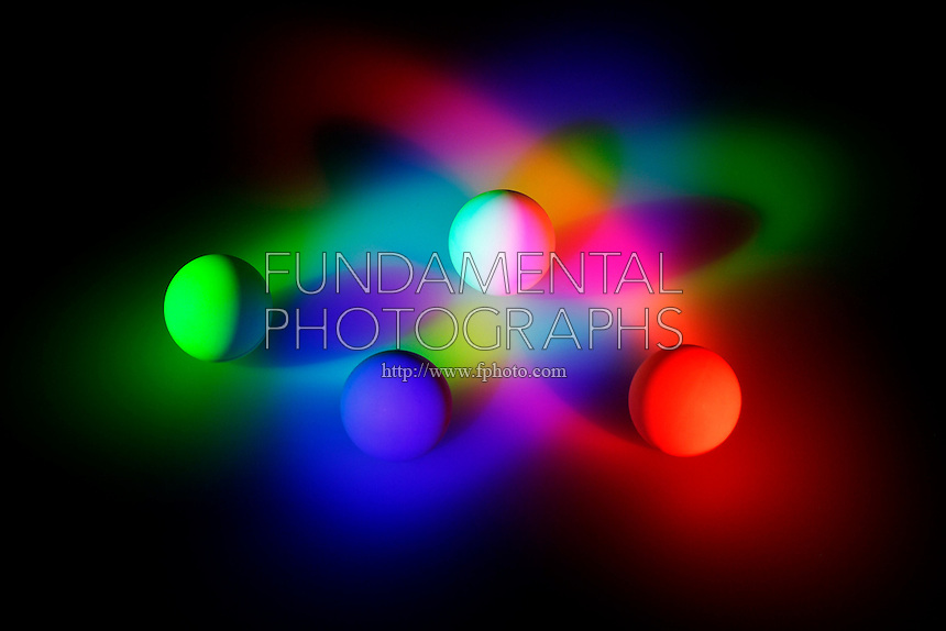MIXING LIGHT PRIMARIES TO MAKE WHITE LIGHT<br /> Additive color mixing based on light perception <br /> Red, blue and green lights are projected onto 3 white balls to intersect on a 4th. The beams cast shadows of the secondary colors, cyan, magenta and yellow and result in white light on the ball where all three overlap.
