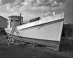 The NANCY ELLEN, formerly named PAULINE, was built by Ambrose Fulcher, of Atlantic, in 1927 for Irwin Morris, also from Atlantic. She was constructed as a haul boat for the long-haul fishing trade and named for Morris's niece. In the 1950s Morris sold her to fisherman Charles Smith, who renamed the vessel the Nancy Ellen after his two daughters. In 1979 John &quot;Buster&quot; Salter bought the NANCY ELLEN for use in his long-haul fishing operation. In 2005 he sold it to David Smith, the son of Charles Smith who is renovating her as a pleasure boat. As evident in the photograph, a &quot;waist&quot; was added to elevate the boat's sides.