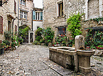"""La Placette"", a small courtyard with a fountain in Saint-Paul-de-Vence, France"