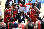 28 November 2014: Stony Brook head coach Caroline McCombs (center) talks to her players during a time out. The Duke University Blue Devils hosted the Stony Brook University Seahawks at Cameron Indoor Stadium in Durham, North Carolina in a 2014-15 NCAA Division I Women's Basketball game. Duke won the game 72-42.
