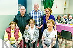 At the Ardfert Community Centre Tea Dance  in aid of the Ardfert/Kilmoyley Senior Citizens Group on Sunday were front l-r Pegg Mcglenn, Maureen Troy, Eileen Summers, back l-r Donal McGlenn, Jimmy O'Connor, Esta Walsh