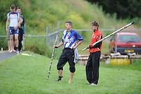 FIERJLEPPEN: JOURE: 18-06-2014, ROC Friese Poort Competitie, Senioren Topklasse, Thewis Hobma wint, Oane en Ysbrand Galama, ©foto Martin de Jong