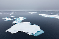 Pack ice in the arctic waters of northern Svalbard