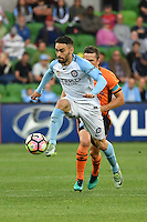 Melbourne, 3 December 2016 - ANTHONY CACERES (10) of Melbourne City controls the ball in the round 9 match of the A-League between Melbourne City and Brisbane Roar at AAMI Park, Melbourne, Australia. Melbourne drew with Brisbane 1-1 (Photo Sydney Low / sydlow.com)