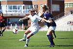 20 October 2013: North Carolina's Kealia Ohai (left) and Virginia's Emily Sonnett (right). The University of North Carolina Tar Heels hosted the University of Virginia Cavaliers at Fetzer Field in Chapel Hill, NC in a 2013 NCAA Division I Women's Soccer match. Virginia won the game 2-0.