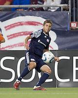 New England Revolution midfielder Chris Tierney (8) passes the ball. In a Major League Soccer (MLS) match, the New England Revolution defeated FC Dallas, 2-0, at Gillette Stadium on September 10, 2011.