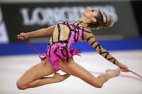 September 21, 2007; Patras, Greece;  Almudena Cid of Spain stag leaps with rope during the All-Around final at 2007 World Championships Patras.  Almudena placed 11th in the AA to qualify Spain for one position in the individual All-Around competition at Beijing 2008 Olympics Games and the possibility of making her 4th Olympic Games.  Photo by Tom Theobald. .