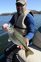 NWA Democrat-Gazette/FLIP PUTTHOFF <br /> Jon Stein, fisheries biologist with the Arkansas Game and Fish Commission, shows one of several black bass he caught Feb. 17 2017 at Swepco Lake. Stein used a variety of soft plastic lures to catch fish.