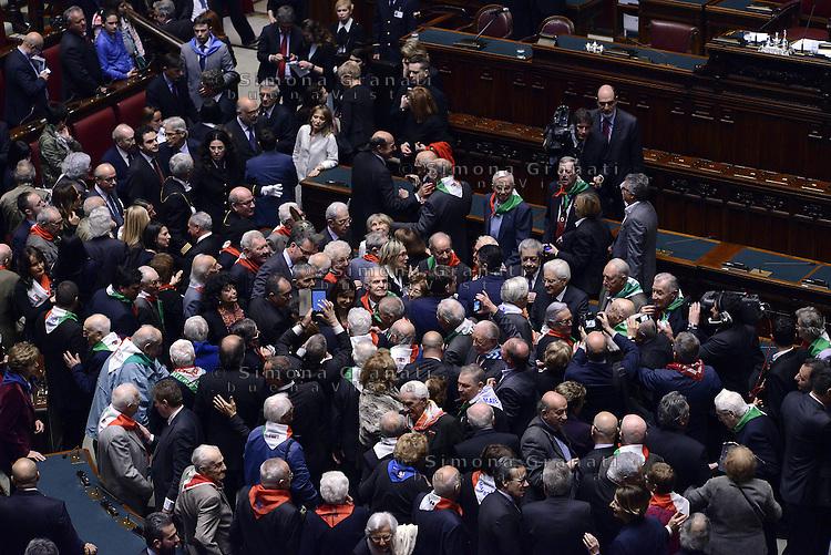 Roma, 16 Aprile 2015.<br /> Il Presidente della Repubblica Sergio Mattarella , Laura Boldrini e Pietro Grasso salutano i Partigiani <br /> Celebrazione alla Camera dei deputati del 70&deg; anniversario della liberazione dal nazifascismo.