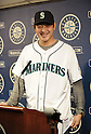 Hisashi Iwakuma (Mariners),.JANUARY 29, 2012 - MLB :.Seattle Mariners new signing pitcher Hisashi Iwakuma smiles in his new jersey during his introductory press conference at Safeco Field in Seattle, Washington, United States. (Photo by AFLO)