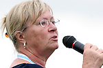 26 August 2007: Sandi Collins sings the National Anthem. The Washington Freedom played the Connecticut Sun in the Hall of Fame Game as part of the National Soccer Hall of Fame Induction Weekend at the National Soccer Hall of Fame in Oneonta, New York.