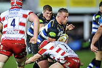 Max Lahiff of Bath Rugby takes on the Gloucester defence. Aviva Premiership match, between Bath Rugby and Gloucester Rugby on February 5, 2016 at the Recreation Ground in Bath, England. Photo by: Patrick Khachfe / Onside Images